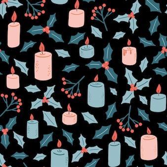 Reticolo di vettore di natale senza soluzione di continuità con candele e vischio capodanno decorazione