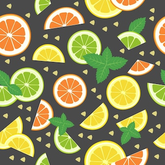Modello senza cuciture di agrumi con arancia limone lemon