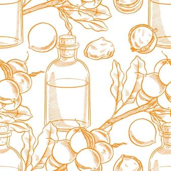 Sfondo colorato senza soluzione di continuità con l'abbozzo di noci di macadamia e una bottiglia di olio. illustrazione disegnata a mano