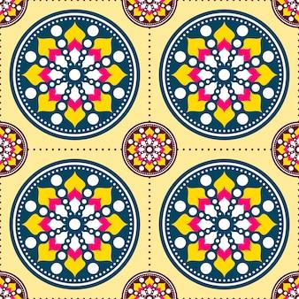 Seamless colorato mandala o rangoli pattern di sfondo.