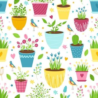 Sfondo carino senza soluzione di continuità con fiori in vaso, uccelli, bacche e foglie. simpatica stampa per tende, asciugatutto, design country, pubblicità per articoli da giardinaggio e floricoltura, involucri. vettore