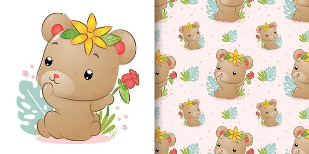 La seamless del simpatico orso guarda indietro e tiene la rosa rossa sulla mano dell'illustrazione