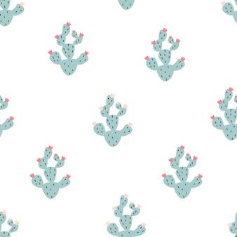 Modello di cactus carino senza soluzione di continuità su sfondo bianco illustrazione vettoriale di sfondo