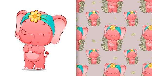 La seamless dell'elefante carino è in piedi con una faccia molto felice dell'illustrazione
