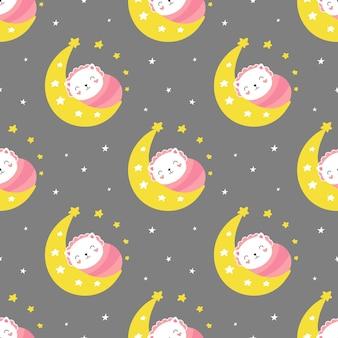 Seamless pattern carino, piccolo gattino dorme sulla falce di luna, buona notte.