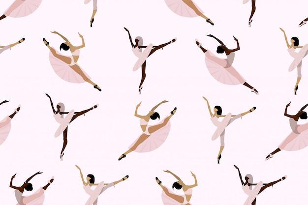 Modello carino senza soluzione di continuità con ballerini afroamericani ed europei, giovani ballerine in tutu e scarpe da punta che ballano individualmente su uno sfondo bianco.