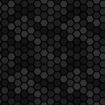 Fondo scuro senza cuciture del modello di esagono 3d del metallo