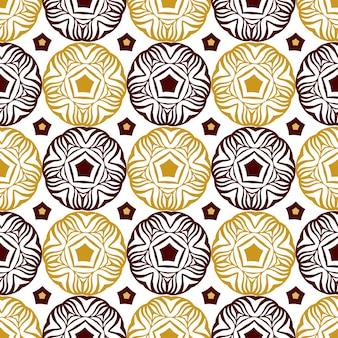 Seamless pattern cerchio decorativo con ornamento etnico oro