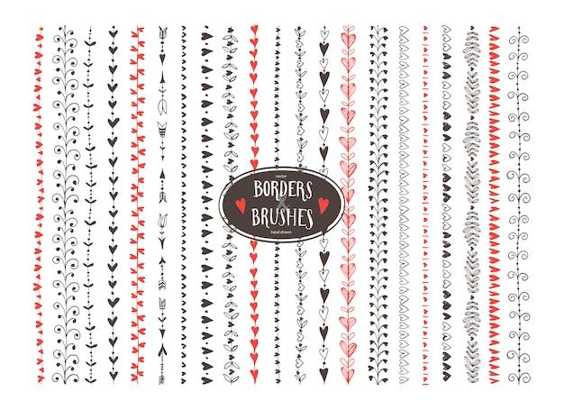 Pennelli decorativi senza giunte del cuore di doodle.