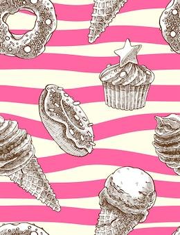 Modello decorativo senza cuciture con coni gelato, muffin e ciambelle in mano disegnato stile.