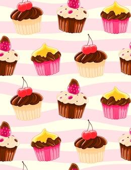 Modello decorativo senza cuciture con muffin e ciliegie in stile cartoon.
