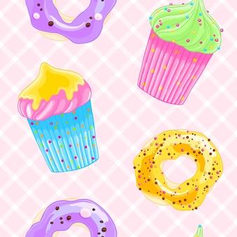 Modello decorativo senza cuciture con muffin e ciambelle in stile cartoon.
