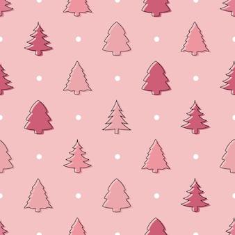 Modello di albero di natale doodle senza soluzione di continuità in rosa pastello