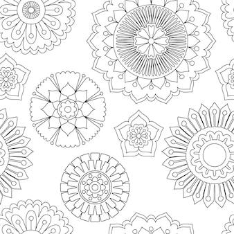 Reticolo di fiori di doodle senza soluzione di continuità.