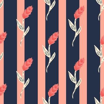 Reticolo senza giunte di doodle in stile fattoria con spiga di grano rosa ornamento.