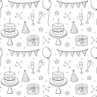 Reticolo senza giunte di doodle con torte festive cappelli da festa regali champagne e ghirlande