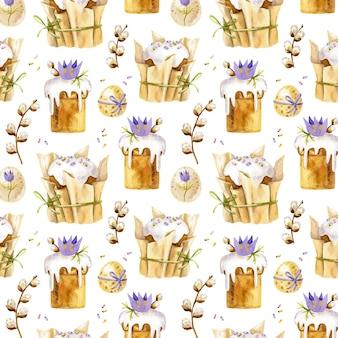 Seamless pattern di pasqua con dolci pasquali