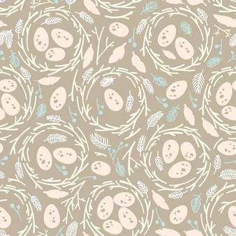 Seamless pattern di pasqua con i nidi.