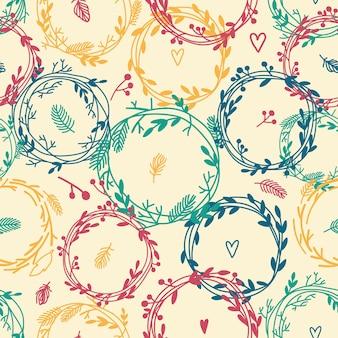 Seamless pattern di pasqua con i nidi Vettore Premium