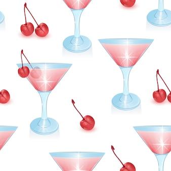 Seamless pattern senza fine con cocktail alcolici e ciliegia