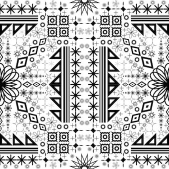 Modello etnico senza cuciture illustrazione vettoriale in bianco e nero