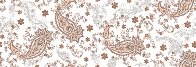 Modello etnico senza cuciture di paisley e rami floreali decorativi. motivo indiano. sfondo vettoriale