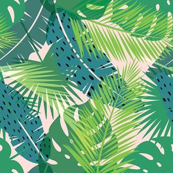 Modello esotico senza soluzione di continuità con foglie di palma. illustrazione di disegni a mano vettoriale