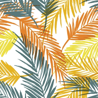 Modello esotico senza soluzione di continuità con foglie di palma.
