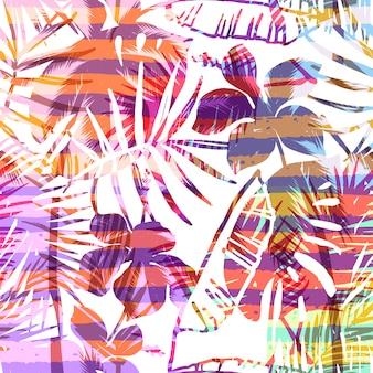 Modello esotico senza cuciture con palme tropicali in colore luminoso.