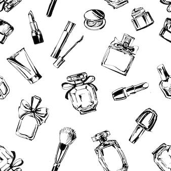Sfondo di moda e cosmetici senza soluzione di continuità con oggetti da truccatore illustrazione vettoriale