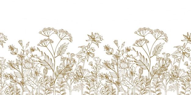 Bordo floreale senza soluzione di continuità con erbe disegnate a mano bianco nero e fiori selvatici