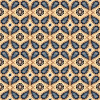 Motivo geometrico astratto naturale floreale senza soluzione di continuità su sfondo marrone stile paisley di arte popolare