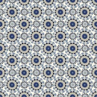 Motivo geometrico astratto naturale floreale senza soluzione di continuità su sfondo bianco stile di arte popolare
