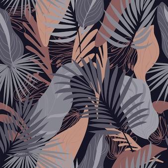 Modello astratto naturale floreale senza cuciture su sfondo nero piante tropicali autunno folk art