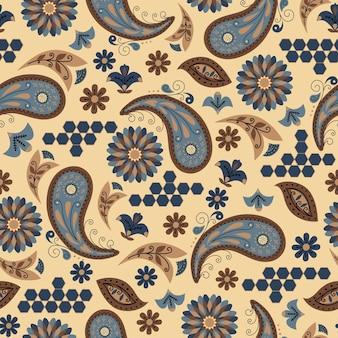 Modello astratto naturale floreale senza cuciture su fondo marrone disegnato a mano in stile paisley di arte popolare
