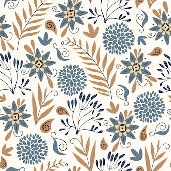 Modello astratto naturale floreale senza cuciture su sfondo bianco fiori blu in stile paisley di arte popolare