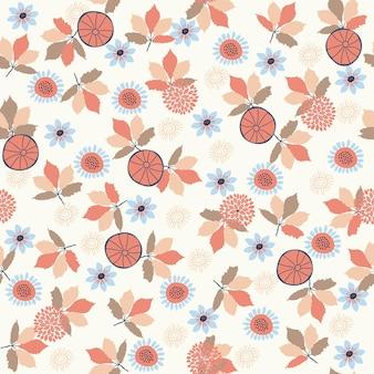 Modello astratto naturale floreale senza cuciture su fondo bianco disegno a mano di stile di arte popolare