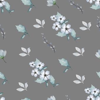 Modello di disegno a mano acquerello natura floreale senza soluzione di continuità