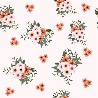 Composizioni floreali senza cuciture tessuto in tessuto con fiori bellissimi