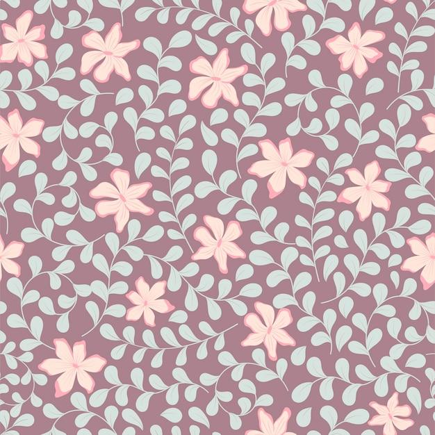 Ramoscelli curvi con motivo floreale senza soluzione di continuità con foglie e fiori delicati.