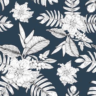 Motivo floreale senza soluzione di continuità sfondo di fiori di ibisco e frangipani.