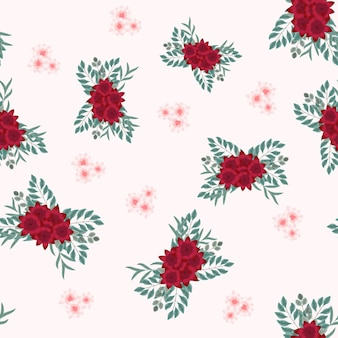 Motivo floreale senza soluzione di continuità con bouquet o mazzo di bellissimi fiori