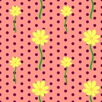 Motivo floreale senza soluzione di continuità in stile vintage bellissimi fiori cosmo gialli su sfondo rosa punteggiato