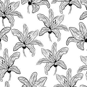 Motivo floreale senza soluzione di continuità con gigli disegnati a mano su uno sfondo bianco