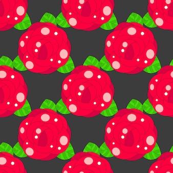 Motivo floreale senza soluzione di continuità con rosa rossa, illustrazione vettoriale.