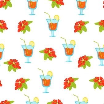 Motivo floreale senza soluzione di continuità con fiori tropicali e cocktail in bicchieri da vino stampa vettoriale in piatto