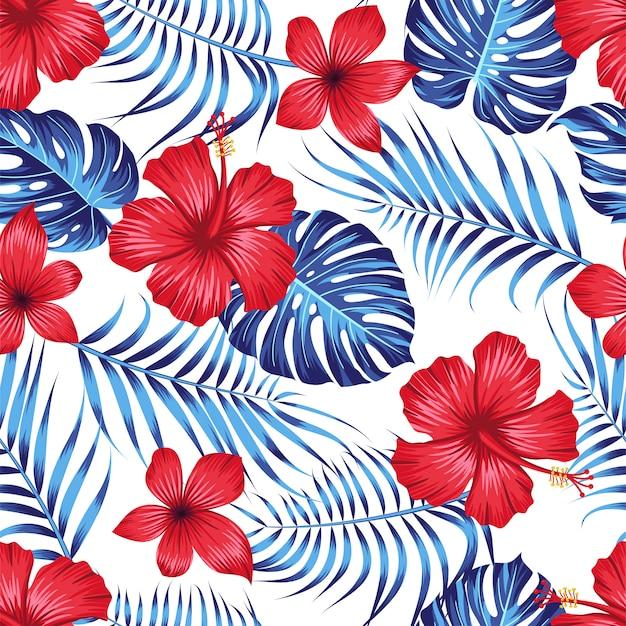 Seamless pattern floreale con foglie tropicali