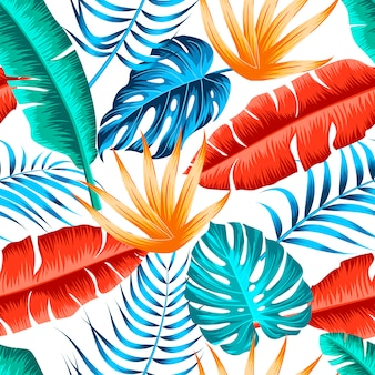 Seamless motivo floreale con foglie tropicali
