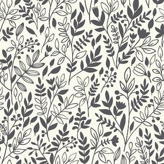 Seamless pattern floreale con ramoscelli
