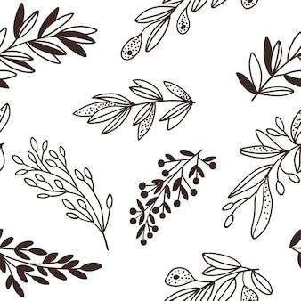 Seamless motivo floreale con ramoscelli.